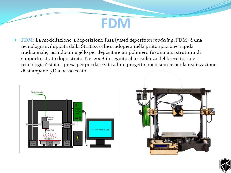FDM FDM: La modellazione a deposizione fusa (fused deposition modeling, FDM) è una tecnologia sviluppata dalla Stratasys che si adopera nella prototipazione rapida tradizionale, usando un ugello per depositare un polimero fuso su una struttura di supporto, strato dopo strato.