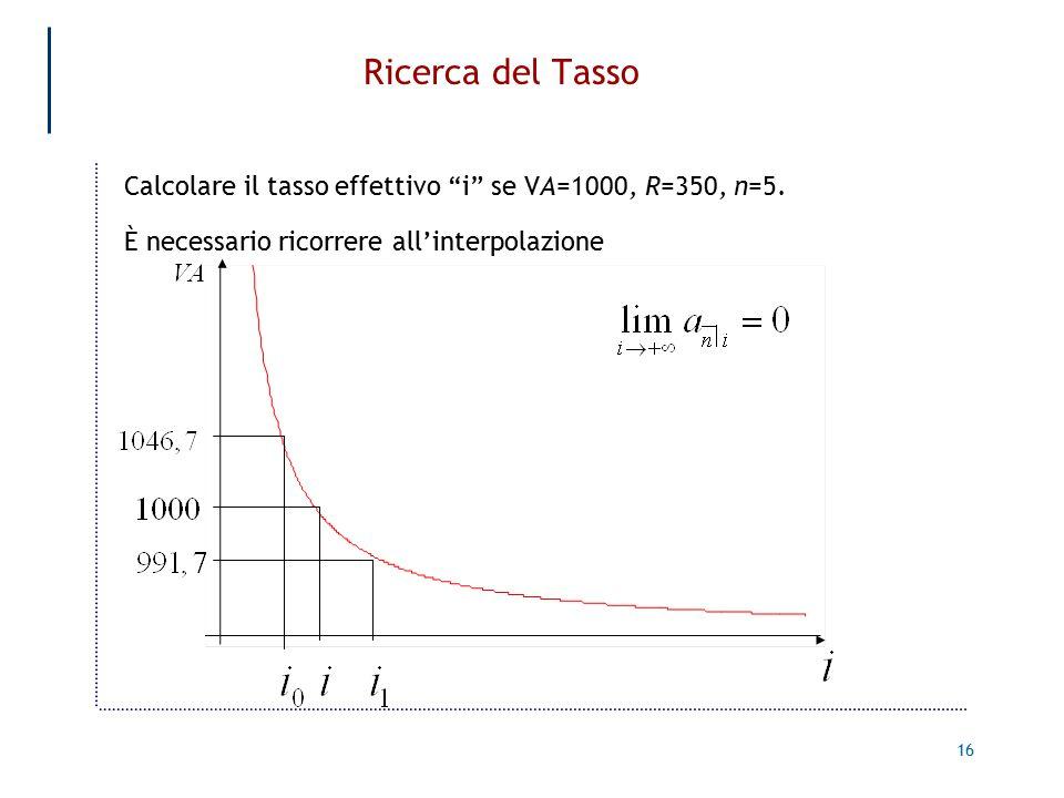 16 Ricerca del Tasso Calcolare il tasso effettivo i se VA=1000, R=350, n=5.