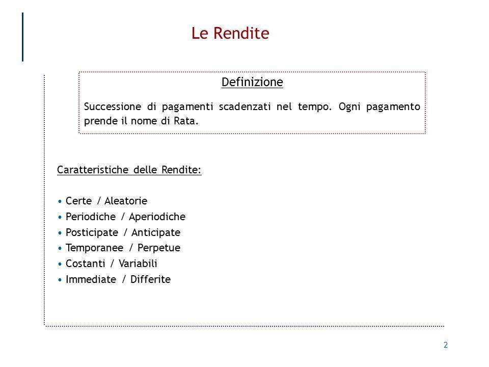2 Le Rendite Definizione Successione di pagamenti scadenzati nel tempo.