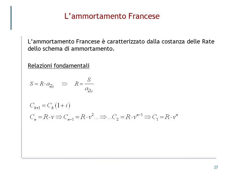 27 L'ammortamento Francese L'ammortamento Francese è caratterizzato dalla costanza delle Rate dello schema di ammortamento.
