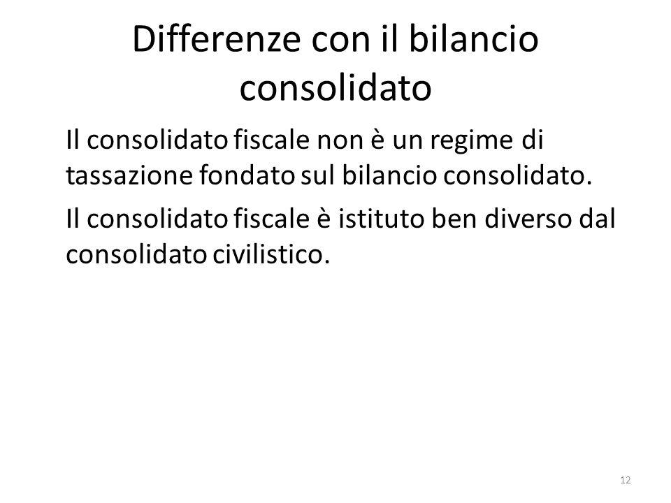 12 Differenze con il bilancio consolidato Il consolidato fiscale non è un regime di tassazione fondato sul bilancio consolidato.