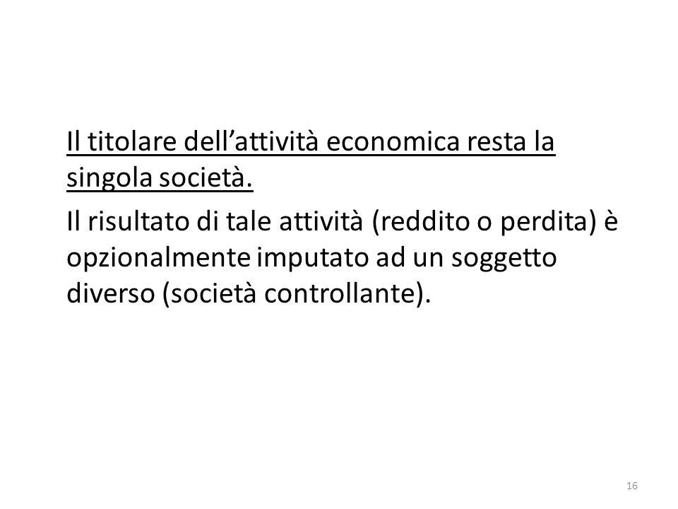16 Il titolare dell'attività economica resta la singola società.