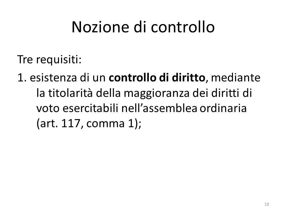 18 Nozione di controllo Tre requisiti: 1.