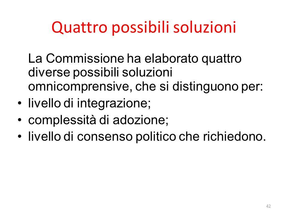 Quattro possibili soluzioni La Commissione ha elaborato quattro diverse possibili soluzioni omnicomprensive, che si distinguono per: livello di integrazione; complessità di adozione; livello di consenso politico che richiedono.