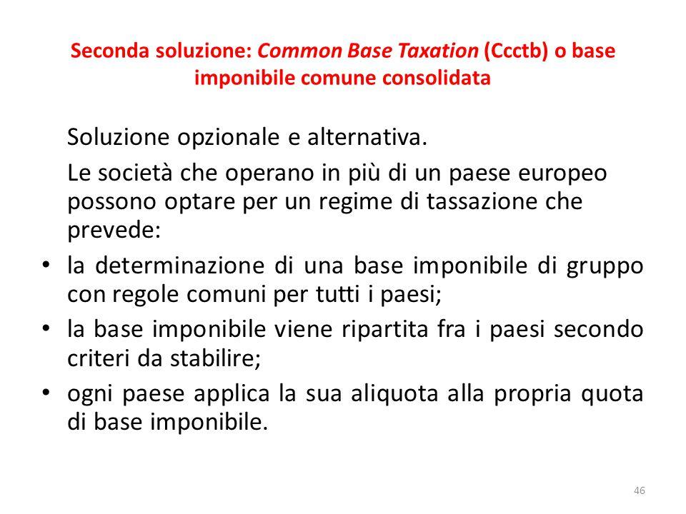 Seconda soluzione: Common Base Taxation (Ccctb) o base imponibile comune consolidata Soluzione opzionale e alternativa.