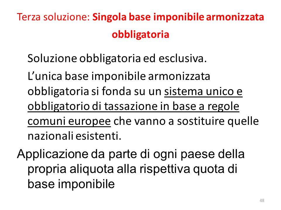 Terza soluzione: Singola base imponibile armonizzata obbligatoria Soluzione obbligatoria ed esclusiva.
