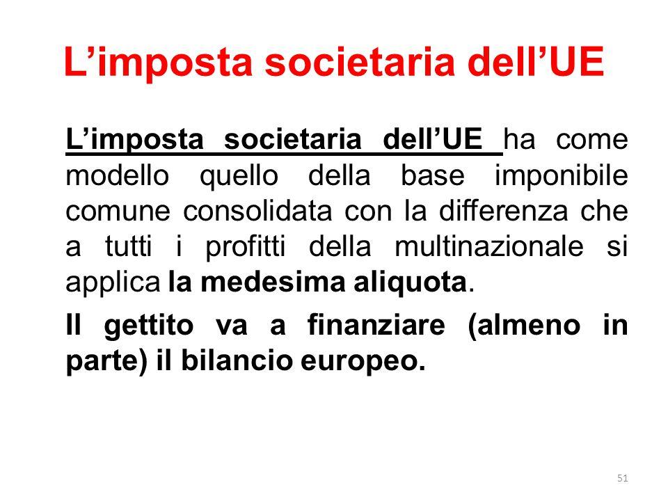 L'imposta societaria dell'UE L'imposta societaria dell'UE ha come modello quello della base imponibile comune consolidata con la differenza che a tutti i profitti della multinazionale si applica la medesima aliquota.
