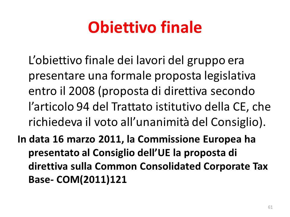 Obiettivo finale L'obiettivo finale dei lavori del gruppo era presentare una formale proposta legislativa entro il 2008 (proposta di direttiva secondo l'articolo 94 del Trattato istitutivo della CE, che richiedeva il voto all'unanimità del Consiglio).
