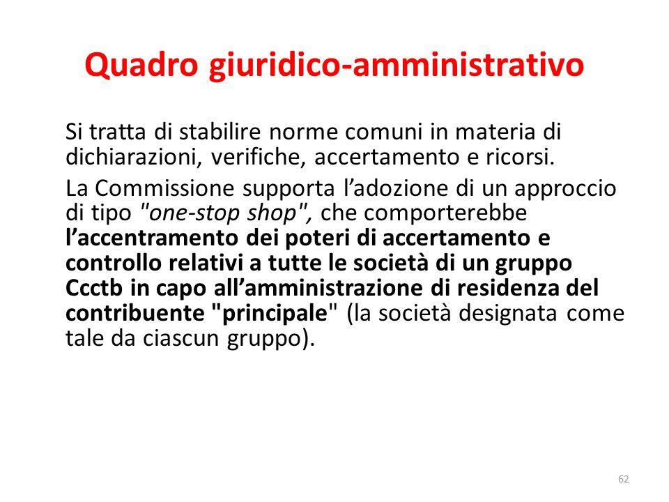 Quadro giuridico-amministrativo Si tratta di stabilire norme comuni in materia di dichiarazioni, verifiche, accertamento e ricorsi.