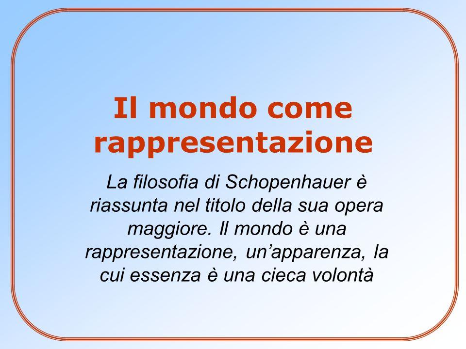 La filosofia di Schopenhauer è riassunta nel titolo della sua opera maggiore.