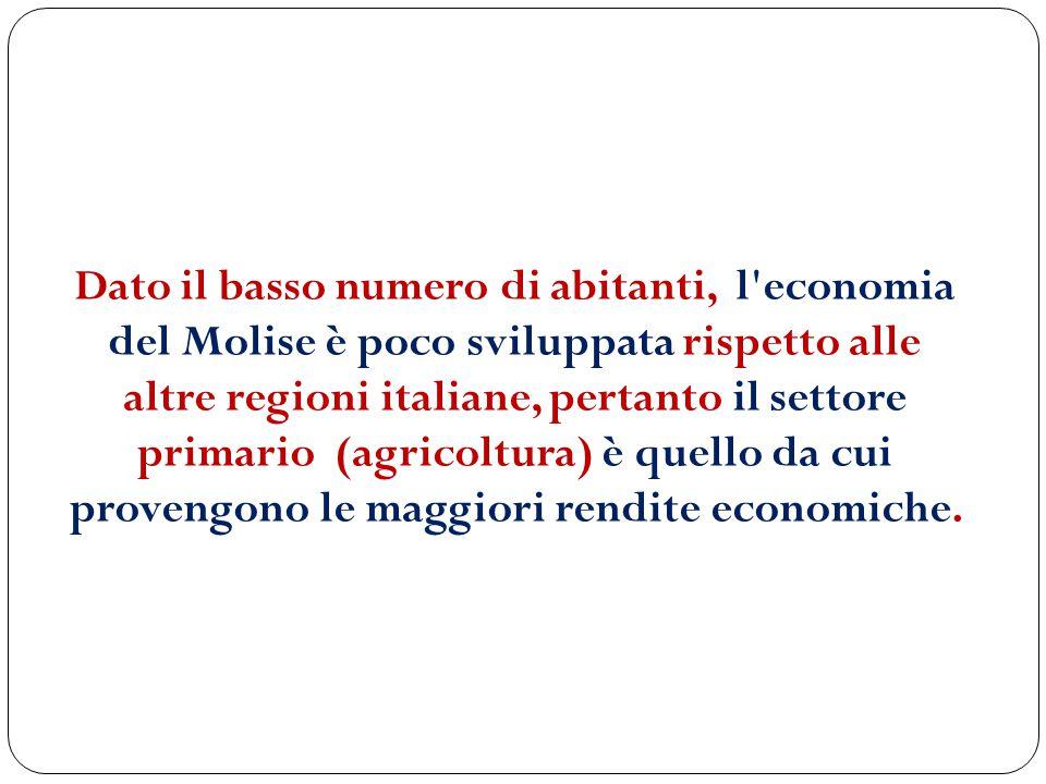 Dato il basso numero di abitanti, l'economia del Molise è poco sviluppata rispetto alle altre regioni italiane, pertanto il settore primario (agricolt