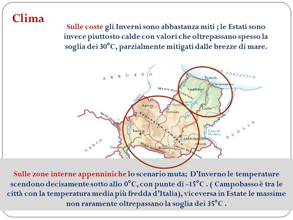 Clima Sulle coste gli Inverni sono abbastanza miti ; le Estati sono invece piuttosto calde con valori che oltrepassano spesso la soglia dei 30°C, parz