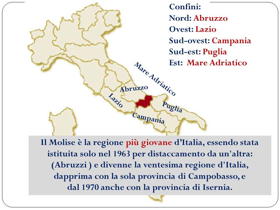 Puglia Abruzzo Campania Lazio Confini: Nord: Abruzzo Ovest: Lazio Sud-ovest: Campania Sud-est: Puglia Est: Mare Adriatico Mare Adriatico Il Molise è l