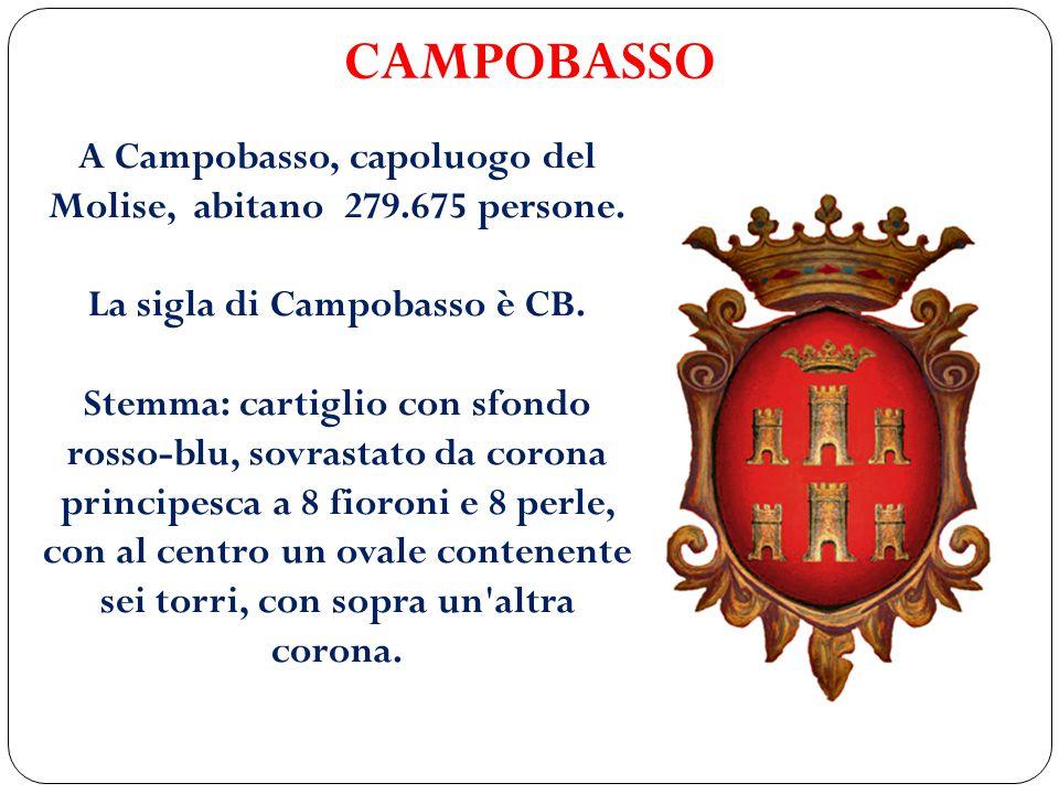 CAMPOBASSO A Campobasso, capoluogo del Molise, abitano 279.675 persone. La sigla di Campobasso è CB. Stemma: cartiglio con sfondo rosso-blu, sovrastat