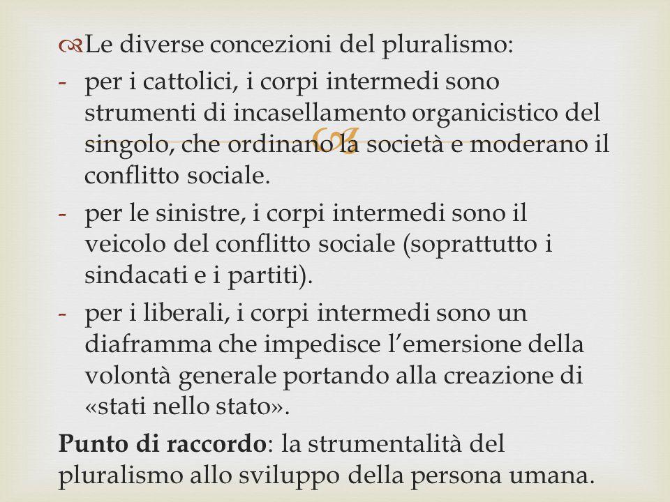   Le diverse concezioni del pluralismo: -per i cattolici, i corpi intermedi sono strumenti di incasellamento organicistico del singolo, che ordinano