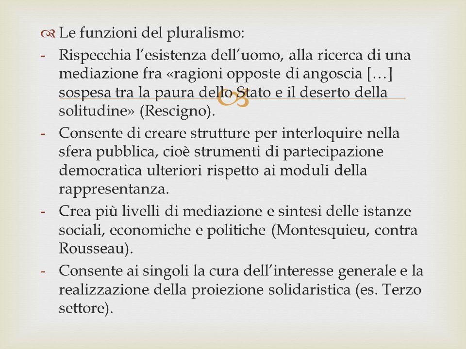   Le funzioni del pluralismo: -Rispecchia l'esistenza dell'uomo, alla ricerca di una mediazione fra «ragioni opposte di angoscia […] sospesa tra la
