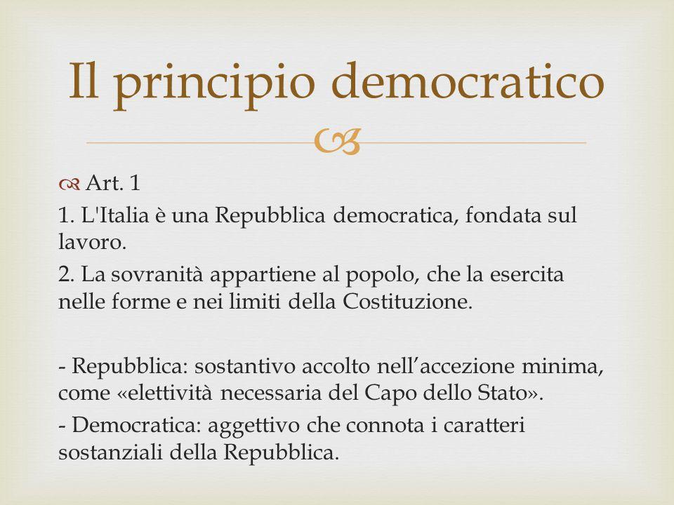   Art. 1 1. L'Italia è una Repubblica democratica, fondata sul lavoro. 2. La sovranità appartiene al popolo, che la esercita nelle forme e nei limit