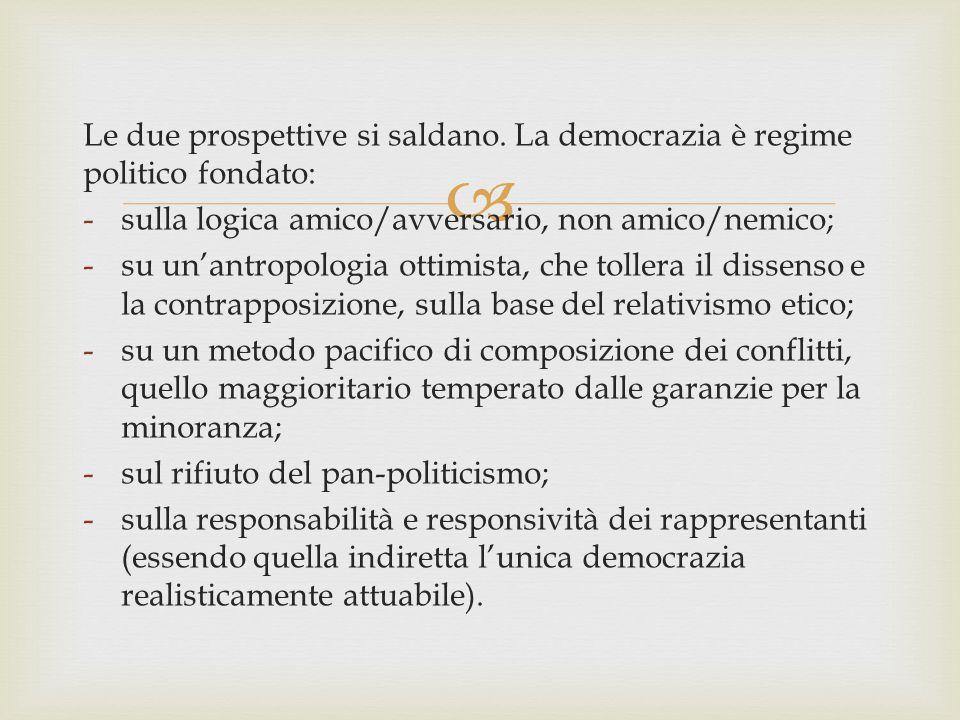  Le due prospettive si saldano. La democrazia è regime politico fondato: -sulla logica amico/avversario, non amico/nemico; -su un'antropologia ottimi