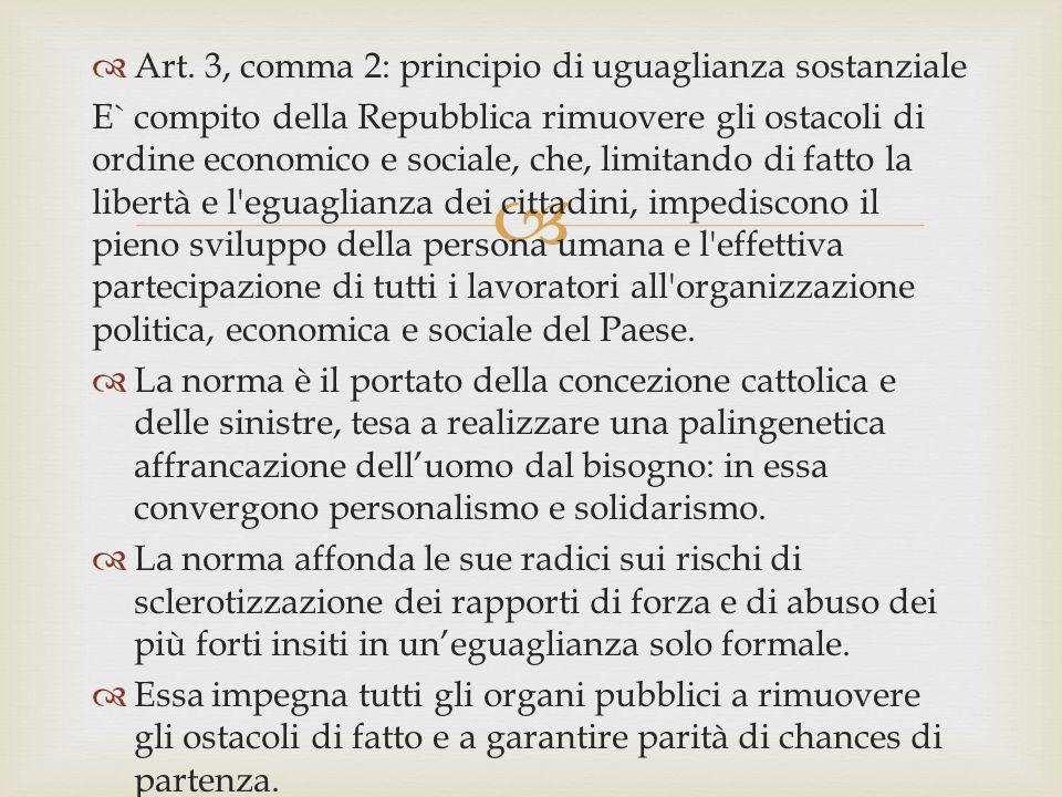   Art. 3, comma 2: principio di uguaglianza sostanziale E` compito della Repubblica rimuovere gli ostacoli di ordine economico e sociale, che, limit