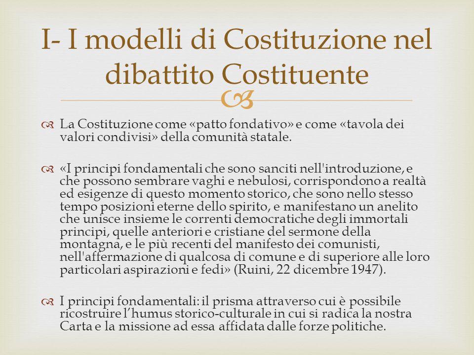   La Costituzione sedimenta gli equilibri naturali e lo spontaneismo sociale: la Carta censisce e formalizza assetti e regole del corpo sociale.
