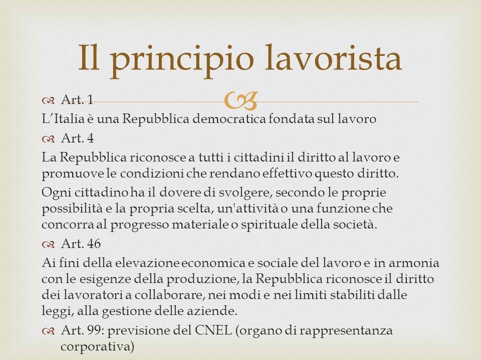  Art. 1 L'Italia è una Repubblica democratica fondata sul lavoro  Art. 4 La Repubblica riconosce a tutti i cittadini il diritto al lavoro e promuo
