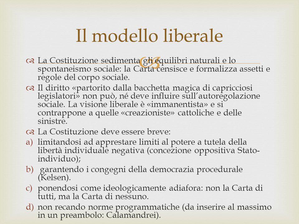   La Costituzione sedimenta gli equilibri naturali e lo spontaneismo sociale: la Carta censisce e formalizza assetti e regole del corpo sociale.  I