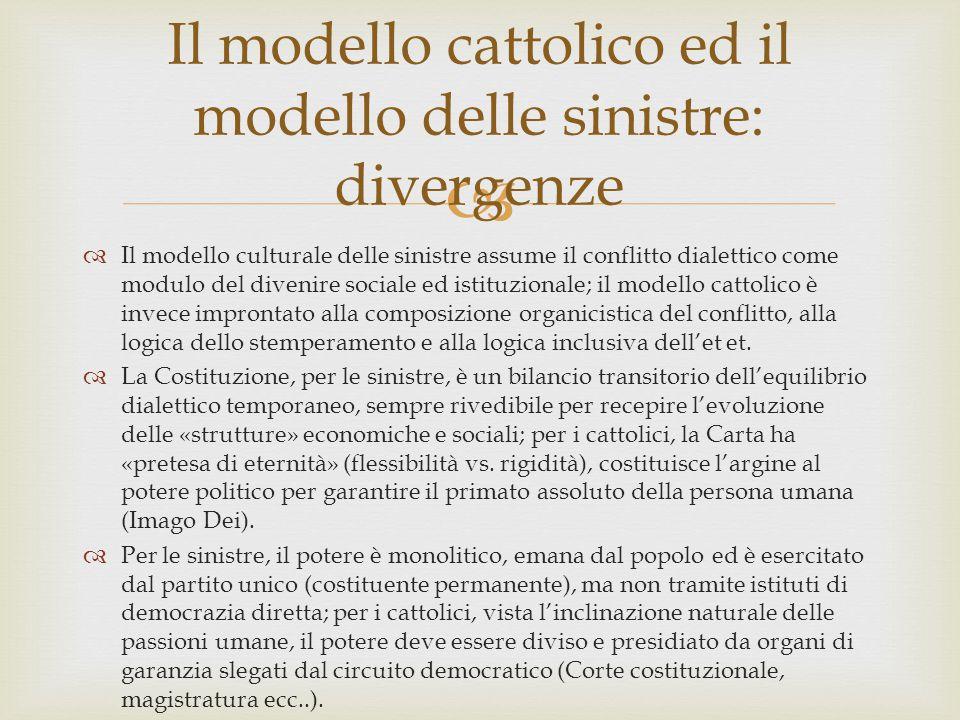   Il modello culturale delle sinistre assume il conflitto dialettico come modulo del divenire sociale ed istituzionale; il modello cattolico è invec