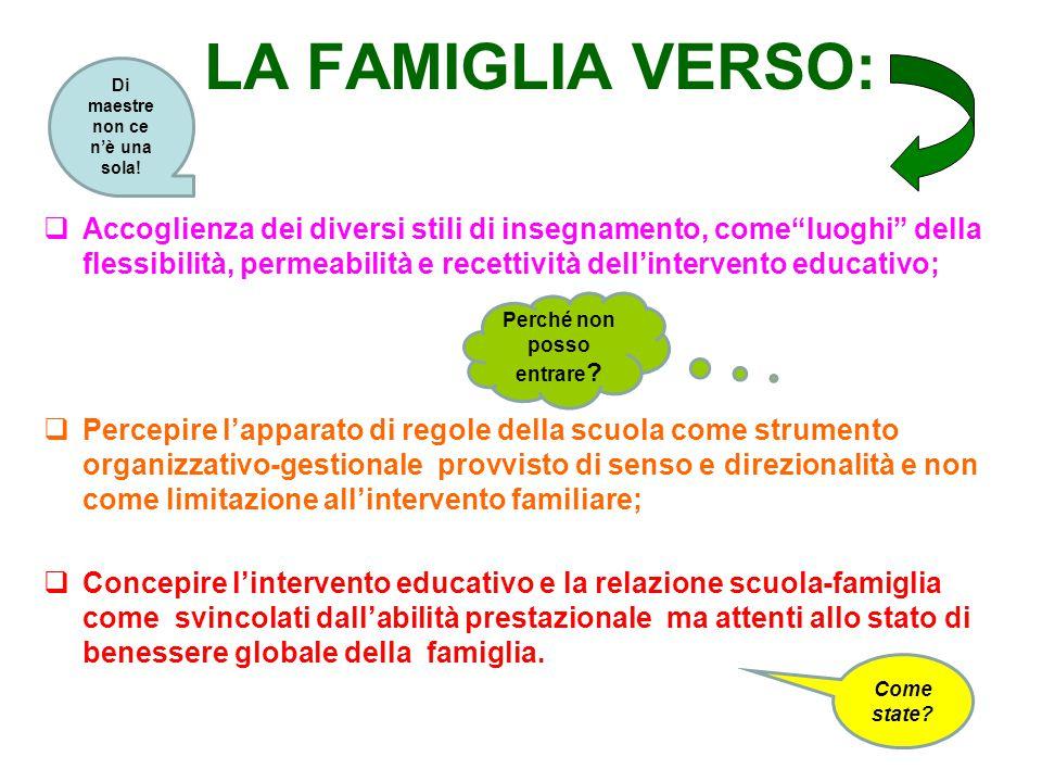 """LA FAMIGLIA VERSO:  Accoglienza dei diversi stili di insegnamento, come""""luoghi"""" della flessibilità, permeabilità e recettività dell'intervento educat"""