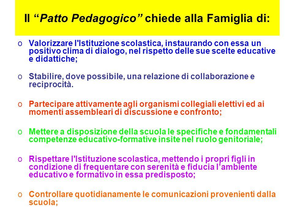 """Il """"Patto Pedagogico"""" chiede alla Famiglia di: oValorizzare l'Istituzione scolastica, instaurando con essa un positivo clima di dialogo, nel rispetto"""