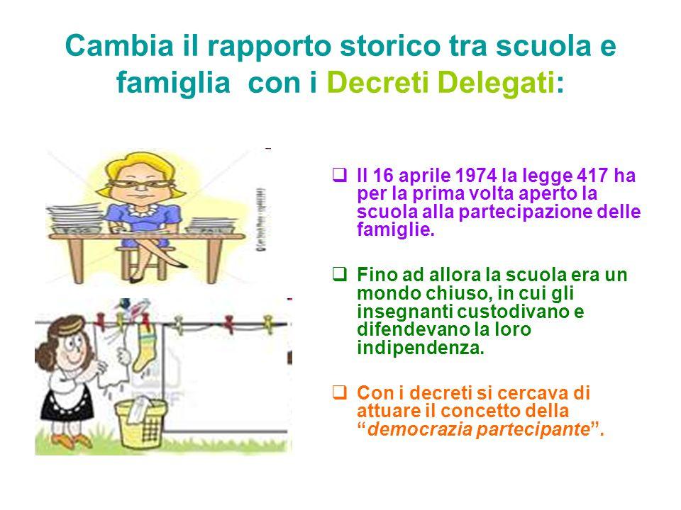 Cambia il rapporto storico tra scuola e famiglia con i Decreti Delegati:  Il 16 aprile 1974 la legge 417 ha per la prima volta aperto la scuola alla partecipazione delle famiglie.