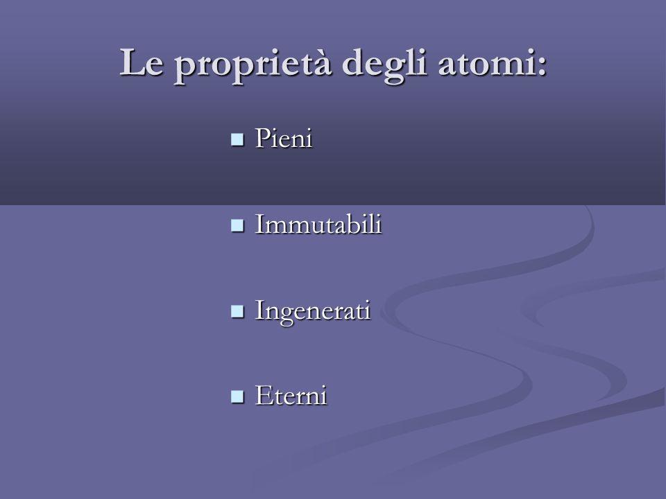 Le proprietà degli atomi: Pieni Pieni Immutabili Immutabili Ingenerati Ingenerati Eterni Eterni