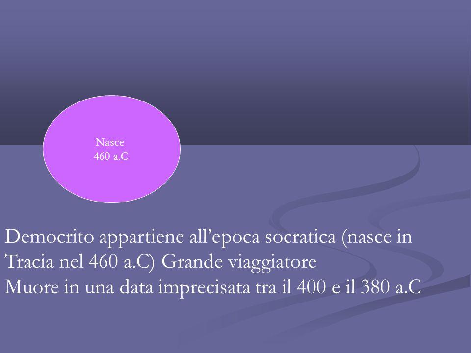 Democrito appartiene all'epoca socratica (nasce in Tracia nel 460 a.C) Grande viaggiatore Muore in una data imprecisata tra il 400 e il 380 a.C Nasce