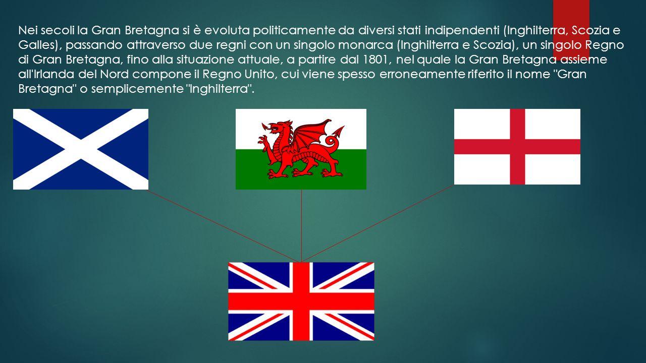 Nei secoli la Gran Bretagna si è evoluta politicamente da diversi stati indipendenti (Inghilterra, Scozia e Galles), passando attraverso due regni con