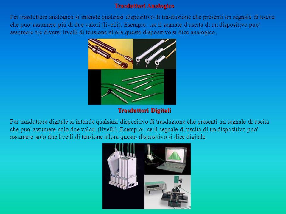 Trasduttori Analogico Per trasduttore analogico si intende qualsiasi dispositivo di trasduzione che presenti un segnale di uscita che puo assumere più di due valori (livelli).