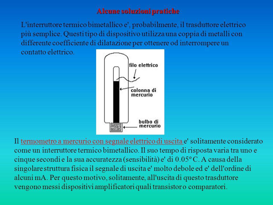 Alcune soluzioni pratiche L interruttore termico bimetallico e , probabilmente, il trasduttore elettrico più semplice.