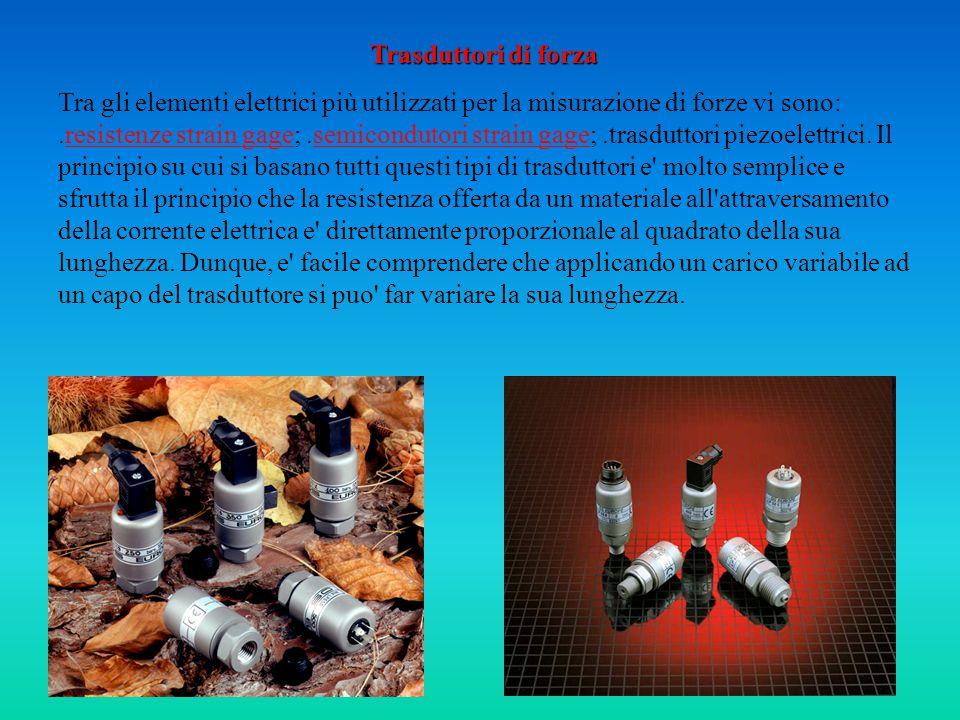 Trasduttori di forza Tra gli elementi elettrici più utilizzati per la misurazione di forze vi sono:.resistenze strain gage;.semicondutori strain gage;.trasduttori piezoelettrici.