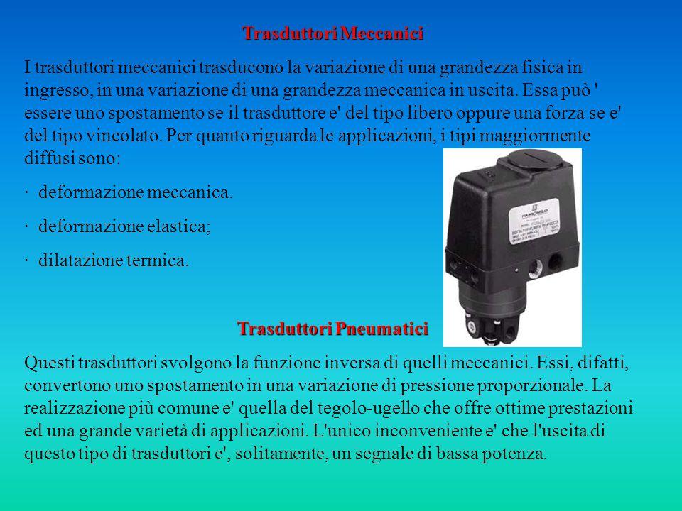 Trasduttori Meccanici I trasduttori meccanici trasducono la variazione di una grandezza fisica in ingresso, in una variazione di una grandezza meccanica in uscita.