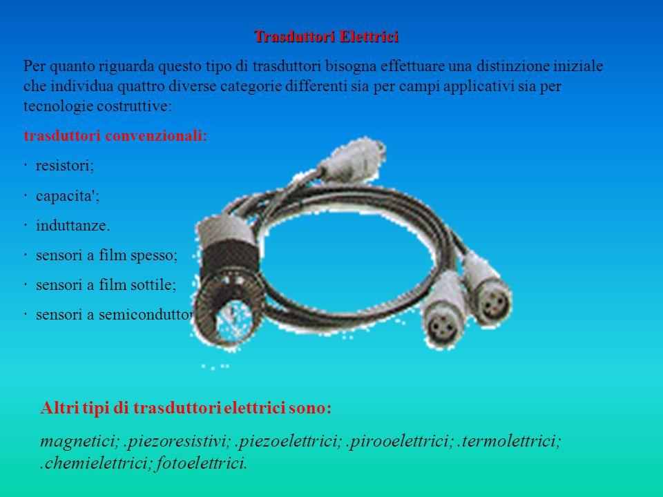 Trasduttori Elettrici Per quanto riguarda questo tipo di trasduttori bisogna effettuare una distinzione iniziale che individua quattro diverse categorie differenti sia per campi applicativi sia per tecnologie costruttive: trasduttori convenzionali: · resistori; · capacita ; · induttanze.