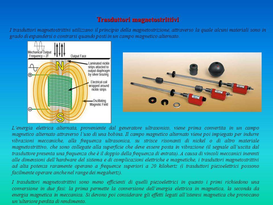 Trasduttori magnetostrittivi I trasduttori magnetostrittivi utilizzano il principio della magnetostrizione, attraverso la quale alcuni materiali sono in grado di espandersi o contrarsi quando posti in un campo magnetico alternato.