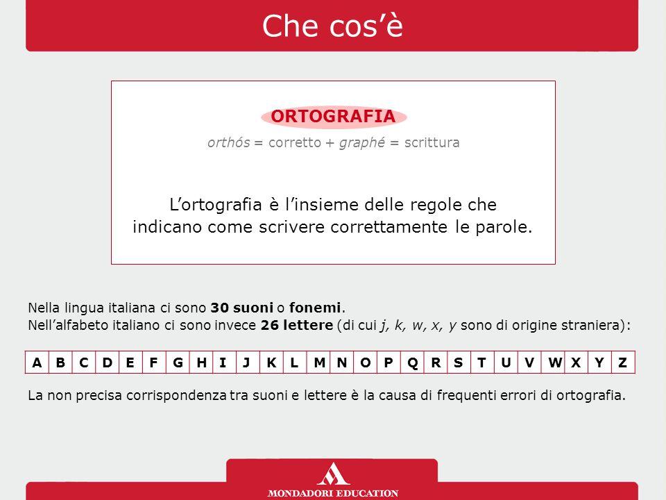 Che cos'è ORTOGRAFIA L'ortografia è l'insieme delle regole che indicano come scrivere correttamente le parole. orthós = corretto + graphé = scrittura