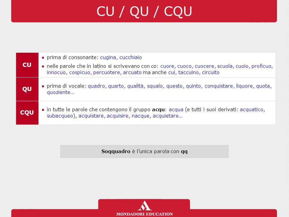 CU / QU / CQU CU ●prima di consonante: cugina, cucchiaio ●nelle parole che in latino si scrivevano con co: cuore, cuoco, cuocere, scuola, cuoio, profi