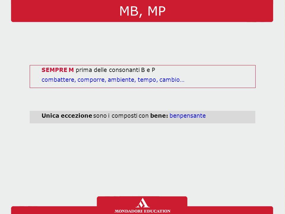 MB, MP SEMPRE M prima delle consonanti B e P combattere, comporre, ambiente, tempo, cambio… Unica eccezione sono i composti con bene: benpensante
