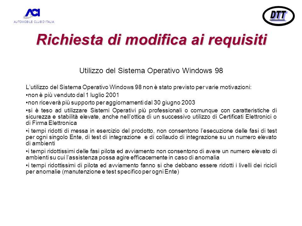 AUTOMOBILE CLUB D'ITALIA Richiesta di modifica ai requisiti Utilizzo del Sistema Operativo Windows 98 L'utilizzo del Sistema Operativo Windows 98 non