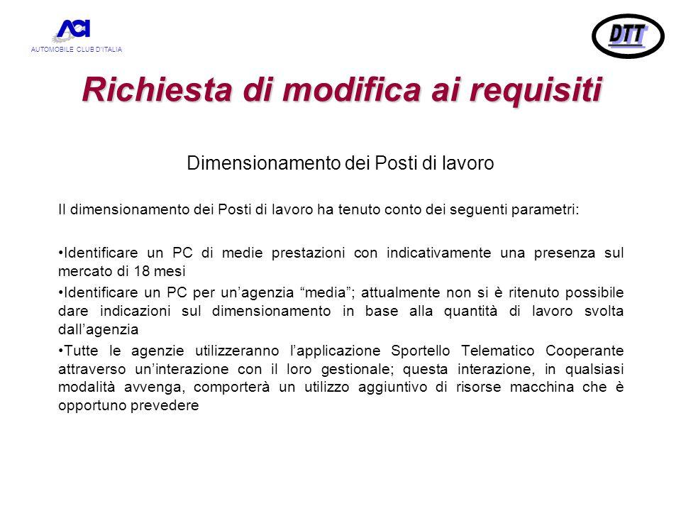 AUTOMOBILE CLUB D'ITALIA Richiesta di modifica ai requisiti Dimensionamento dei Posti di lavoro Il dimensionamento dei Posti di lavoro ha tenuto conto
