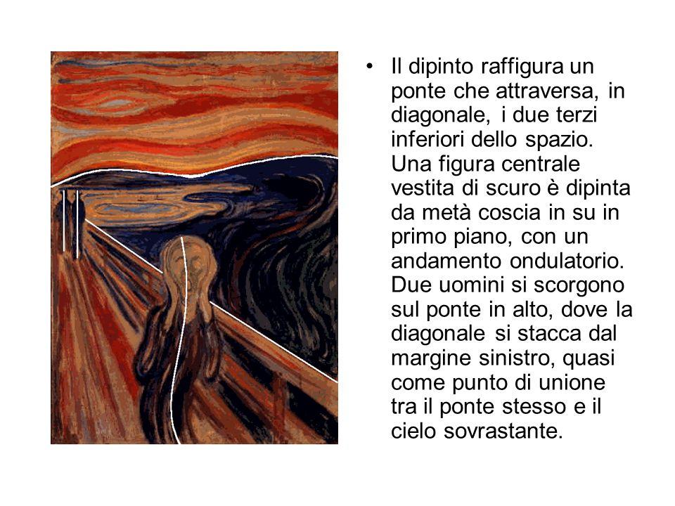 Il dipinto raffigura un ponte che attraversa, in diagonale, i due terzi inferiori dello spazio.