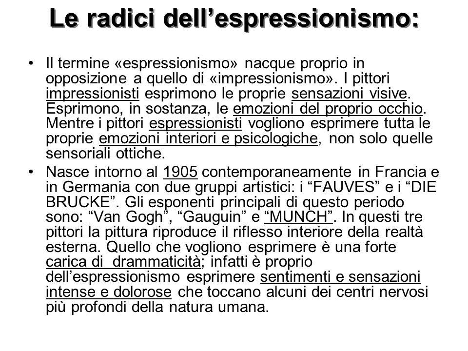 Le radici dell'espressionismo: Il termine «espressionismo» nacque proprio in opposizione a quello di «impressionismo».