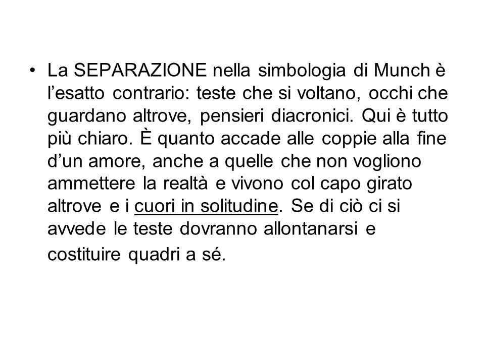 La SEPARAZIONE nella simbologia di Munch è l'esatto contrario: teste che si voltano, occhi che guardano altrove, pensieri diacronici.