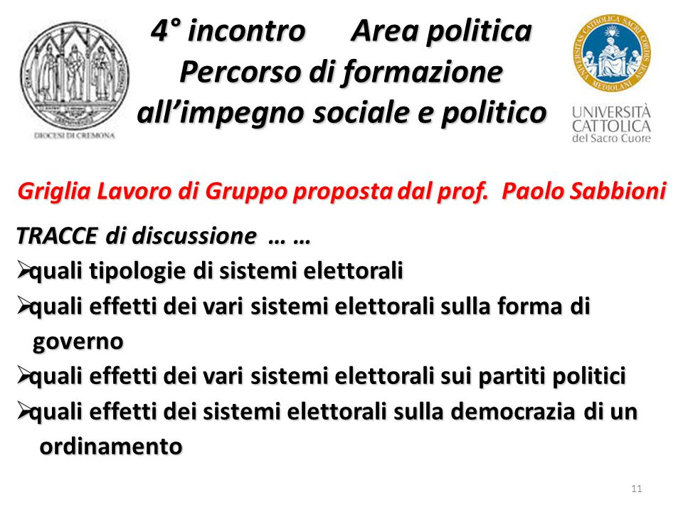 11 4° incontro Area politica Percorso di formazione all'impegno sociale e politico Griglia Lavoro di Gruppo proposta dal prof.