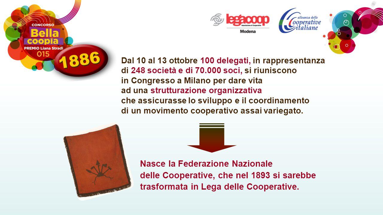Dal 10 al 13 ottobre 100 delegati, in rappresentanza di 248 società e di 70.000 soci, si riuniscono in Congresso a Milano per dare vita ad una strutturazione organizzativa che assicurasse lo sviluppo e il coordinamento di un movimento cooperativo assai variegato.