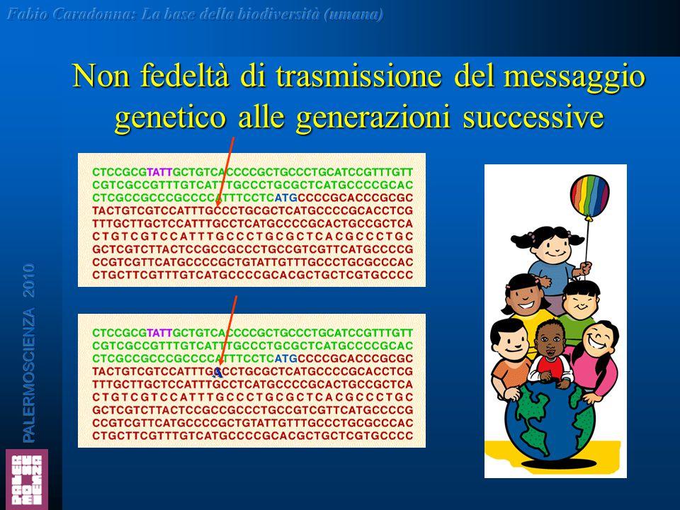 Non fedeltà di trasmissione del messaggio genetico alle generazioni successive A